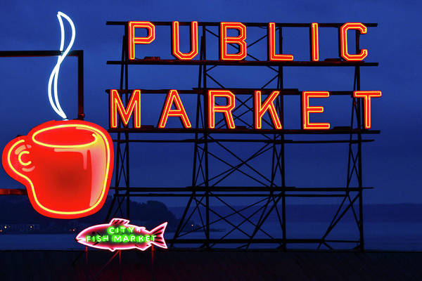 Market Place Photograph - Seattle Glow by Todd Klassy