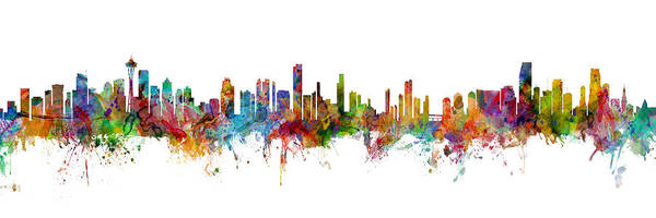 Wall Art - Digital Art - Seattle, Honolulu And Miami Skylines Mashup by Michael Tompsett
