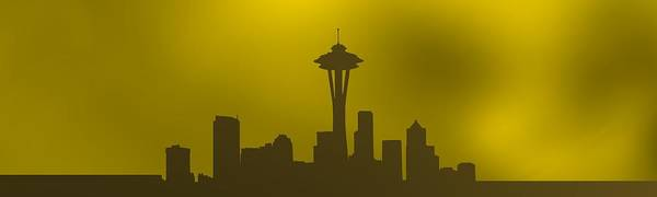 Digital Art - Seattle. Horizontal Gold. by Alberto RuiZ