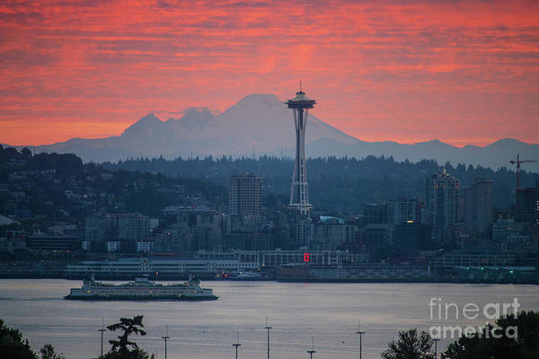 Wall Art - Photograph - Seattle Icons Sunrise by Mike Reid