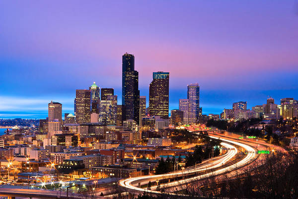 Interstate 5 Wall Art - Photograph - Seattle In Twilight by Thorsten Scheuermann