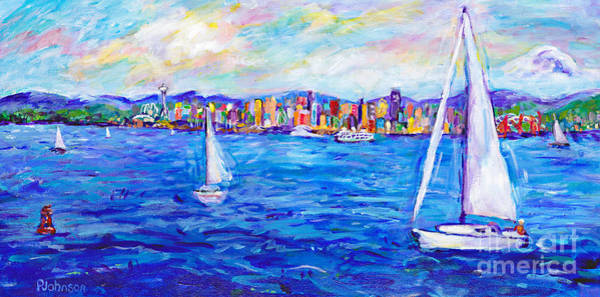 Impressionistic Sailboats Painting - Seattle Jewels by Peggy Johnson