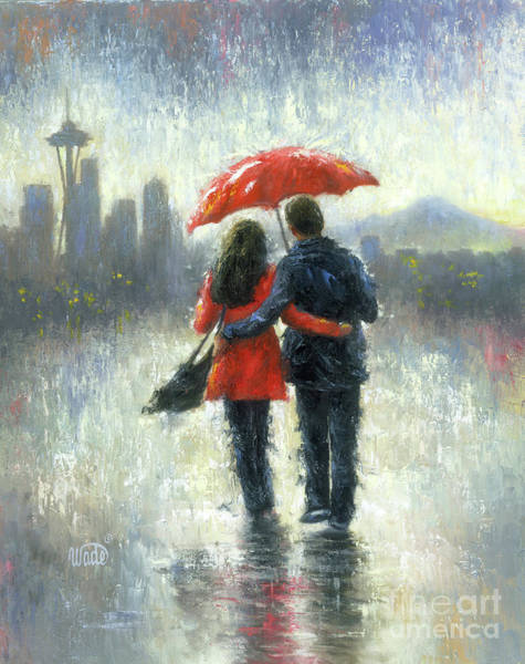 Wall Art - Painting - Seattle Lovers In The Rain by Vickie Wade