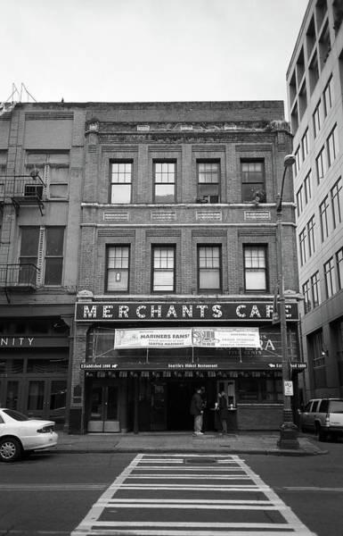Photograph - Seattle - Merchants Cafe Bw by Frank Romeo