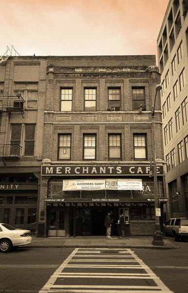 Photograph - Seattle - Merchants Cafe Sepia by Frank Romeo