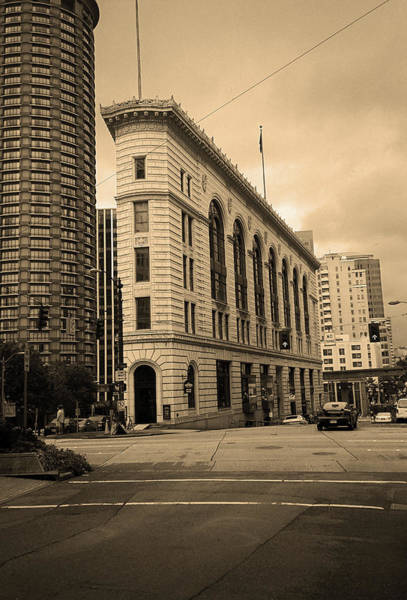 Photograph - Seattle - Misty Architecture 2 Sepia by Frank Romeo