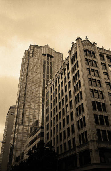 Photograph - Seattle - Misty Architecture 3 Sepia by Frank Romeo