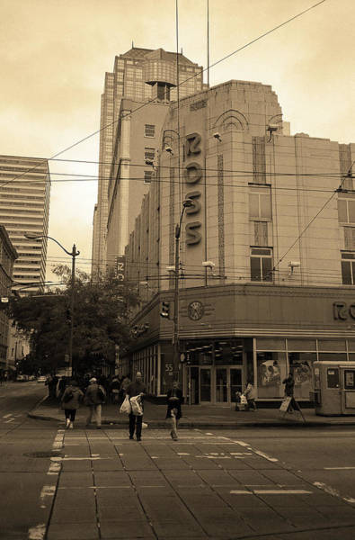 Photograph - Seattle - Misty Architecture 4 Sepia by Frank Romeo