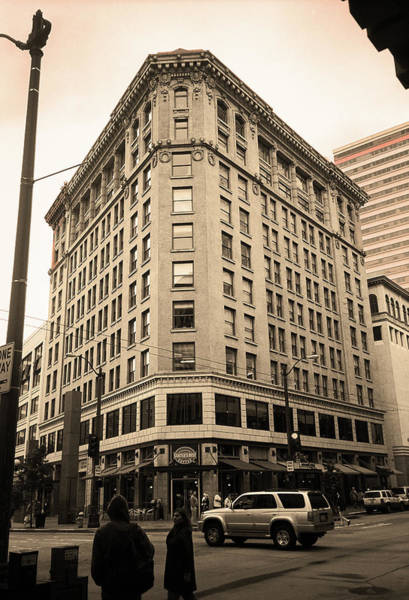 Photograph - Seattle - Misty Architecture Sepia by Frank Romeo