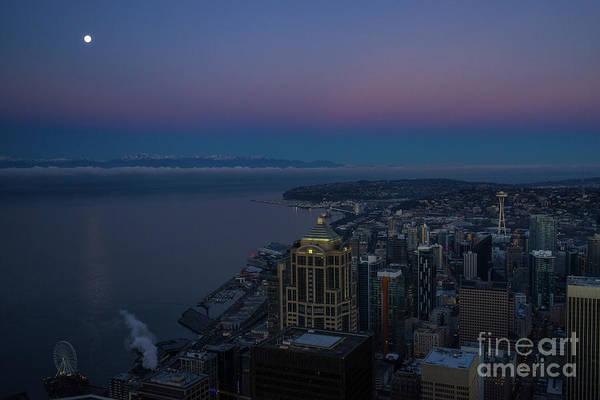 Wall Art - Photograph - Seattle Moonset Sunrise Light by Mike Reid