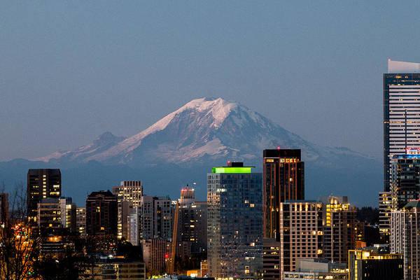 Photograph - Seattle-mt. Rainier In The Morning Light.2 by E Faithe Lester