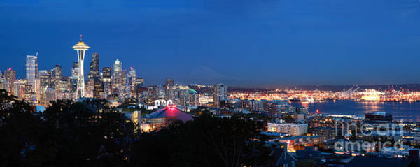 Wall Art - Photograph - Seattle Panorama At Twilight by Peter Simmons