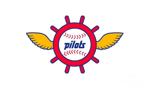 Seattle Digital Art - Seattle Pilots Retro Logo by Spencer McKain