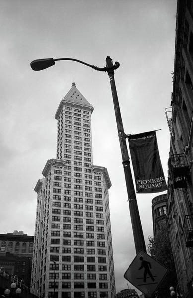 Photograph - Seattle - Pioneer Square Tower 2 Bw by Frank Romeo