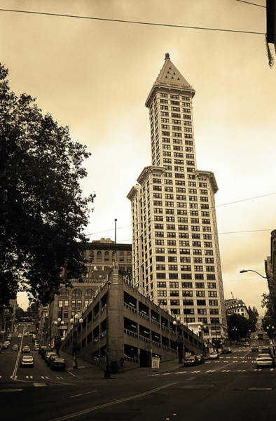 Photograph - Seattle - Pioneer Square Tower 2 Sepia by Frank Romeo