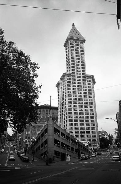 Photograph - Seattle - Pioneer Square Tower Bw by Frank Romeo