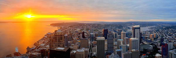 Photograph - Seattle Rooftop Sunset by Songquan Deng