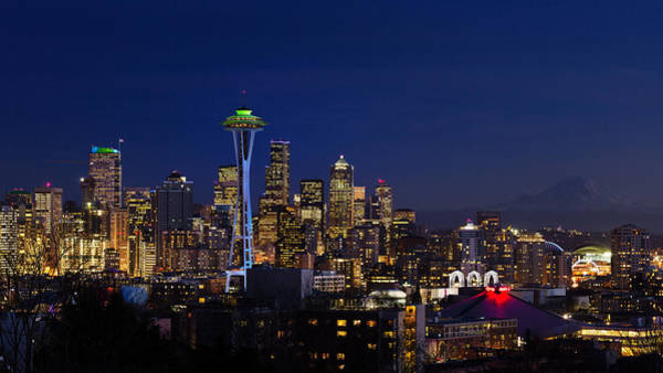 Photograph - Seattle Seahawks Space Needle by Mary Jo Allen