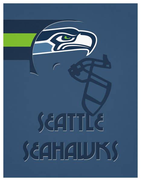 Wall Art - Mixed Media - Seattle Seahawks Team Vintage Art by Joe Hamilton