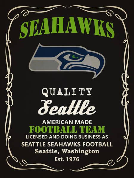 Seattle Seahawks Wall Art - Painting - Seattle Seahawks Whiskey by Joe Hamilton