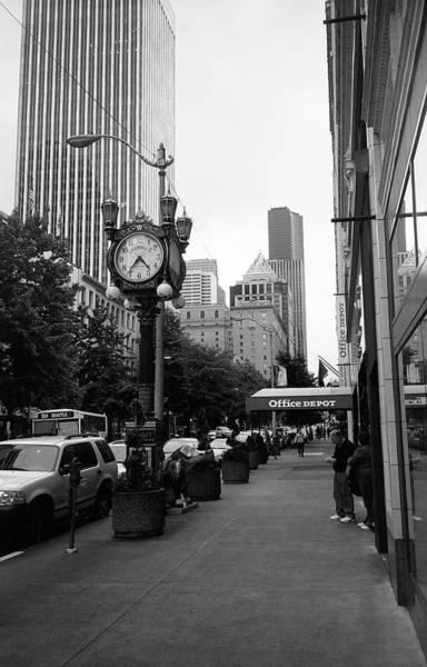 Photograph - Seattle Sidewalk Bw by Frank Romeo