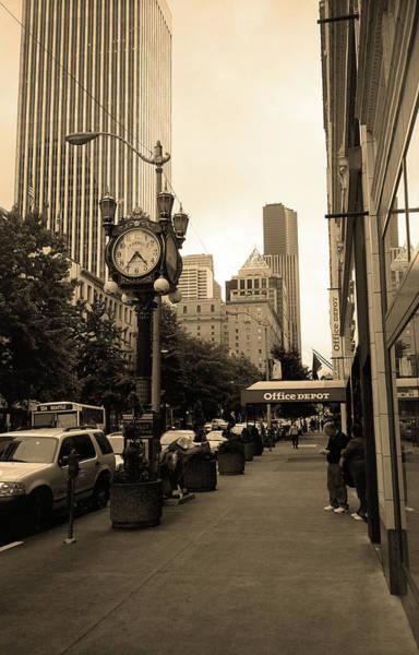 Photograph - Seattle Sidewalk Sepia by Frank Romeo