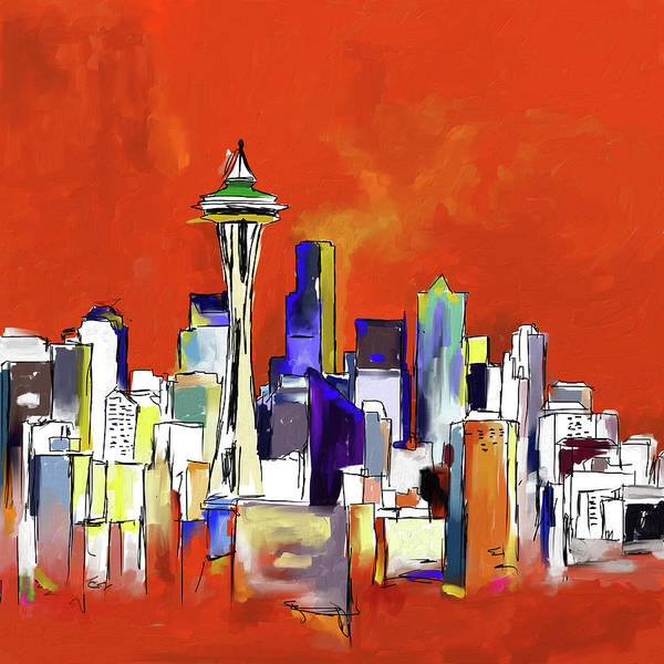 Wall Art - Painting - Seattle Skyline 565 1 by Mawra Tahreem