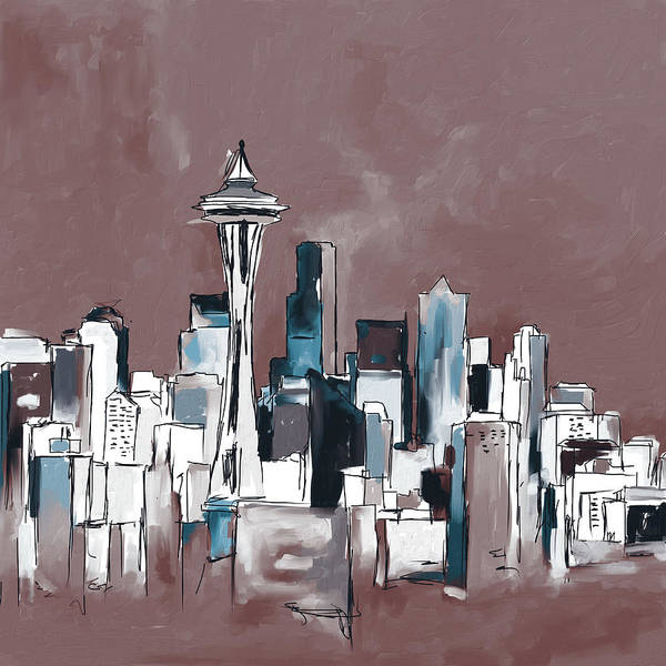Wall Art - Painting - Seattle Skyline 565 2 by Mawra Tahreem