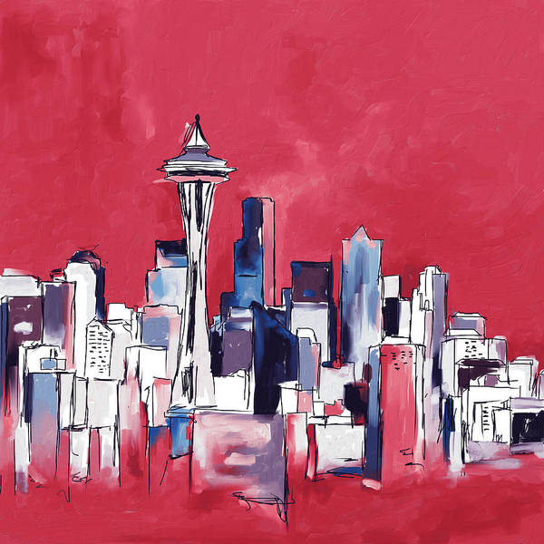 Wall Art - Painting - Seattle Skyline 565 3 by Mawra Tahreem