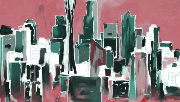 Wall Art - Painting - Seattle Skyline 565 4 by Mawra Tahreem
