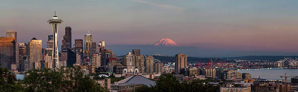 Photograph - Seattle Skyline And Mt. Rainier Panoramic Hd by Adam Romanowicz