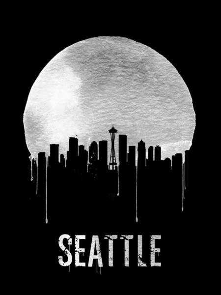 Dreamy Wall Art - Painting - Seattle Skyline Black by Naxart Studio