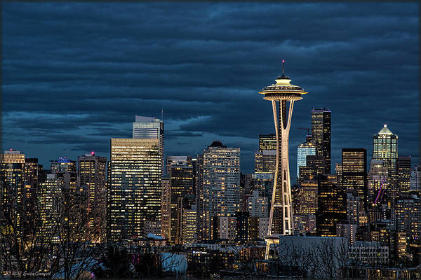 Photograph - Seattle Skyline Blue Hour by Erika Fawcett