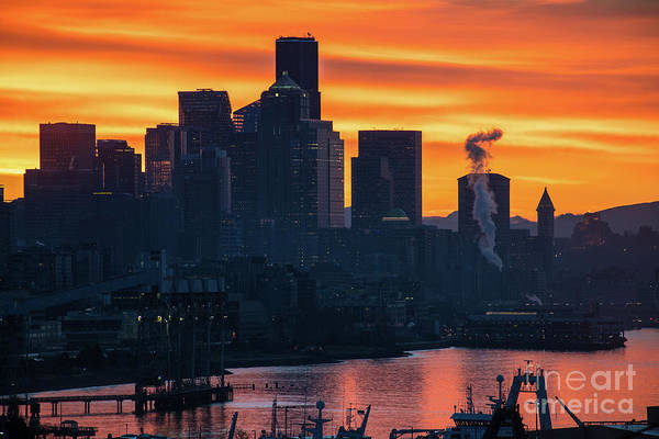 Elliot Bay Wall Art - Photograph - Seattle Skyline Burning Sunrise Skies by Mike Reid