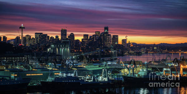 Elliot Bay Wall Art - Photograph - Seattle Skyline Imminent Sunrise by Mike Reid