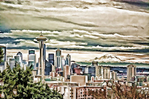Mount Rainier Painting - Seattle Skyline In Fog And Rain by Elaine Plesser