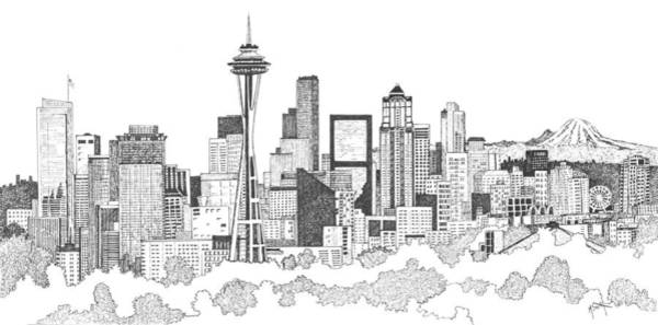 Drawing - Seattle Skyline Ink Drawing by Marilyn Smith
