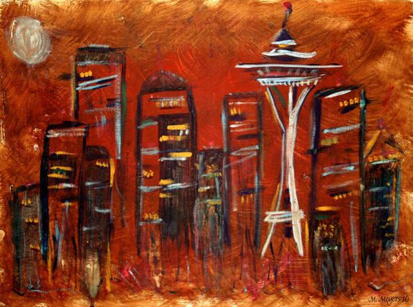 Grunge Painting - Seattle Skyline by Melisa Meyers