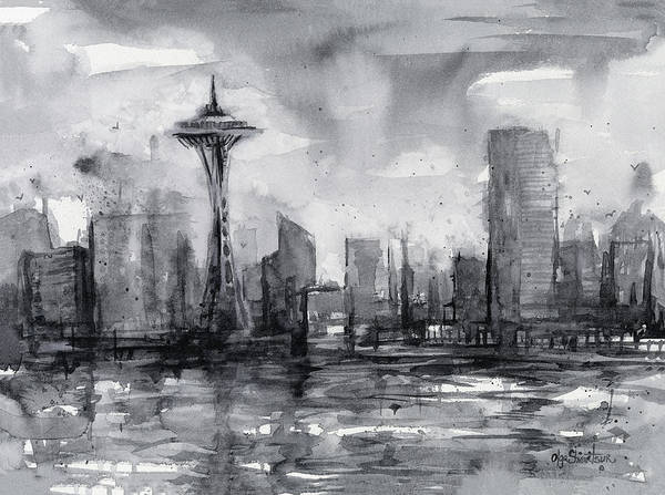 Seattle Skyline Painting Watercolor  Art Print