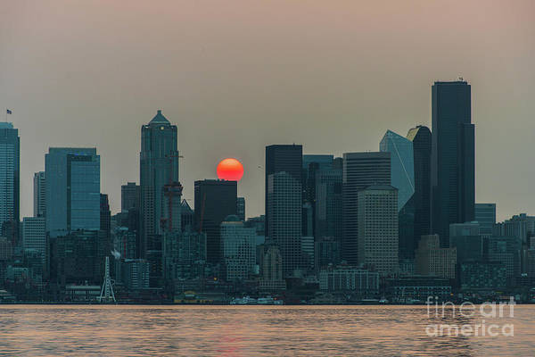 Wall Art - Photograph - Seattle Skyline Red Sunrise by Mike Reid