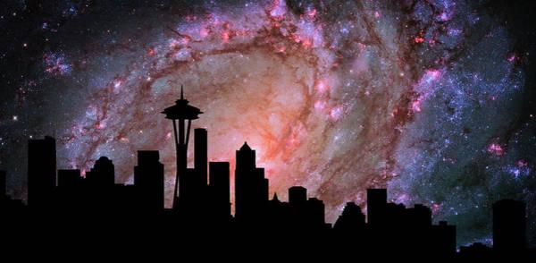 Cosmology Digital Art - Seattle Skyline Silhouette Galaxy by Ricky Barnard