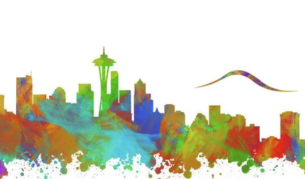 Wall Art - Digital Art - Seattle Skyline Silhouette IIi by Ricky Barnard