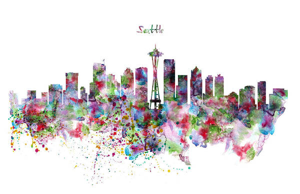 Space Mixed Media - Seattle Skyline Silhouette by Marian Voicu