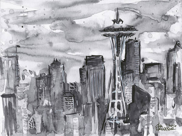 Tint Wall Art - Painting - Seattle Skyline Space Needle by Olga Shvartsur