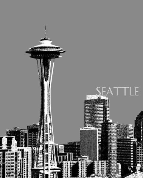 Wall Art - Digital Art - Seattle Skyline Space Needle - Pewter by DB Artist