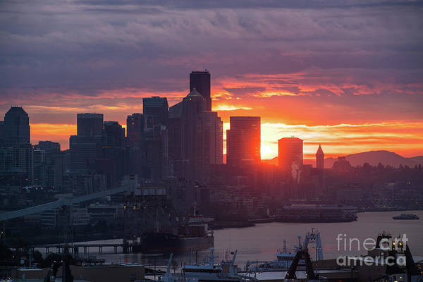 Elliot Bay Wall Art - Photograph - Seattle Skyline Sunrise Luminance by Mike Reid