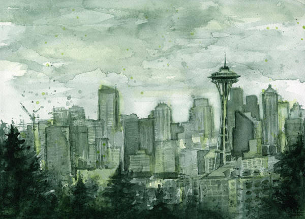 Pikes Place Wall Art - Painting - Seattle Skyline Watercolor Space Needle by Olga Shvartsur