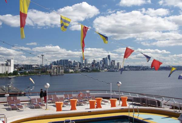 Photograph - Seattle Skyline With Ship Deck by Phyllis Spoor