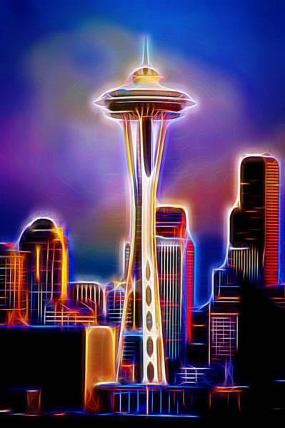 Space Mixed Media - Seattle Space Needle 1 by Aaron Berg
