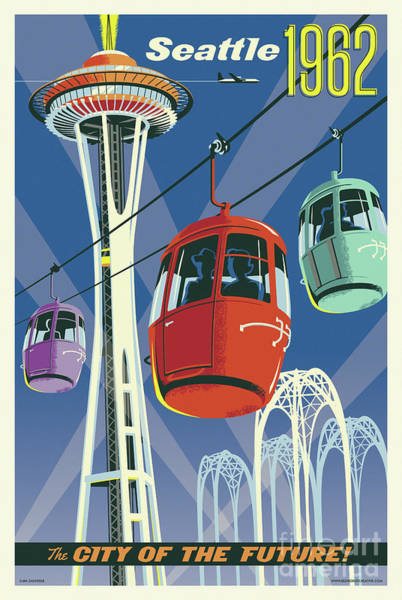 Pikes Place Wall Art - Digital Art - Seattle Poster- Space Needle Vintage Style by Jim Zahniser
